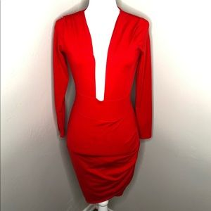 NWOT Red Long Sleeve Plunge Neck Cocktail Dress